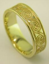 14k Gold irish Crafted Celtic Design Wedding Band Ring all sizes 6mm wide