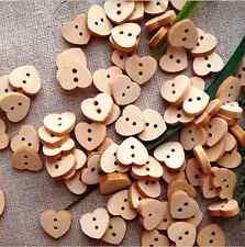 50x belle bois marron couture en bois forme de cœur bouton craft scrapbooking 2 trous