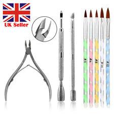 Acrylic Brush Set Nail Art UV Gel Polish Cuticle Clipper Manicure Tools Kit UK