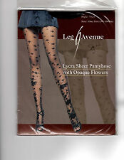 BEAUTIFUL SHEER BLACK  FLORAL TIGHTS  PANTYHOSE LEG AVENUE 7521 SPRING