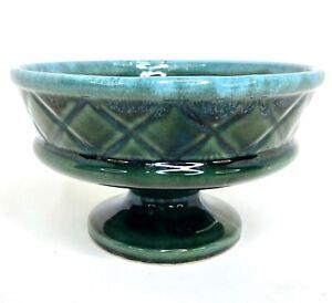 Vtg Hull USA Pottery F25 Blue Green Drip Glaze Planter, Flower Pot, Jardinière