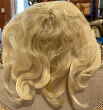 """A24 Antique 9-10"""" Handtied Light Blond Mohair Wig for Antique Bisque Doll"""