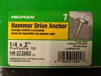 Allfasteners 1//4 x 2 Mushroom Zamac Nail in on Hammer Drive Anchor 1000-PACK