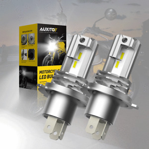 2x AUXITO H4 9003 HB2 LED Motorcycle Bulbs Hi/Lo Beam Headlight Kit 6000K White