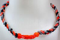 """NEW 20"""" Custom Clasp Braided Sports Orange Black Grey Gray Tornado Necklace"""