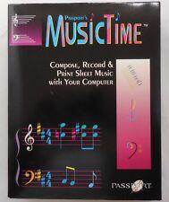 MIDI New 1992 Passport's MusicTime Compose Record & Print Sheet Music Floppys