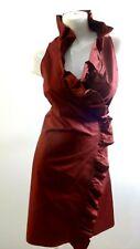 NWT ISAAC MIZRAHI FOR TARGET WOMEN'S MAROON RUFFLE WRAP DRESS SIZE S
