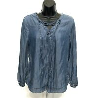 Altar'd State 100% Tencel Chambray Blue Tunic Top Sz XS Tie Lace Up 3/4 Sleeve
