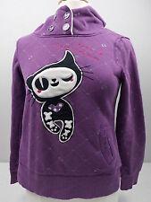 "ES Style Hoodie Purple Long Sleeve Appliqued Cat ""Lets Have A Drink"" Med #2344"