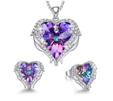 Angel Wings Love Heart Crystal Necklace/Earrings made with Swarovski Crystal
