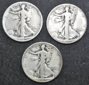 1919-S,D & P WALKING LIBERTY SILVER HALF DOLLARS HONEST UNGRADED COINS FREE SHIP