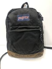 Vintage Jansport Leather Bottom Backpack Black / Brown USA #43950