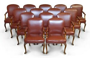 14 LEATHER CHAIRS FROM PRINCESS DIANA'S FAMILY HOME SPENCER HOUSE PAINTED ROOM
