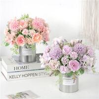 Silk Simul Artificial Fake Peony Flowers Bouquet Plastic Rose Home Decors Dp