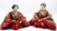 2x antique 19th.C Hina Ningyo Japanese Doll, Imperial Pair, Gofun, Glass eyes