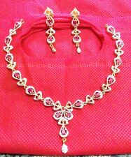 Red ad Gold Plated ethnic Bollywood Bridal Indian jewelry neckless & earring set