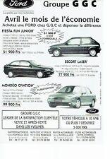 PUBLICITE ADVERTISING 126  1995  Ford  Fiesta Fun  Escort laser Mondéo ovation