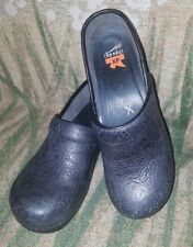 DANSKO Black Leather Tooled Chambray Lace Clogs XP Pro Work Shoes 40 US 9.5-10