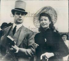 1949 Fashionable Aly Khan Actress Rita Hayworth at English Derby Press Photo