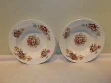A Beautiful Pair Of Aynsley Summertime Rimmed Soup Bowls