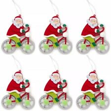"🎄Winter Wonder Lane Bicycle Santa Ornaments 5""L x 1""W x 14""H 🌟Set Of 6🌟"