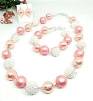 Halskette Set Ohrringe Armband rosa lachs weiss Perlen Kette geflochten Magnet