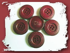 1 BOUTON CUIR Vernis Rouge ACAJOU * 27 mm  4 trous 2,7 cm button sewing Bordeau