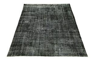BLACK Turkish Area 7'2x9 Distressed Vintage Living Room Oushak Handmade Wool Rug