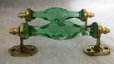 2 Ps Vintage Door Handles Cabinet Puller Green Crystal Cut Glass Brass End Decor