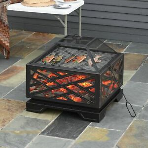 Outsunny 66cm Square Fire Pit Patio Metal Brazier w/ Grill Net Mesh Cover Poker