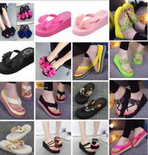 Женские вьетнамки пляжные летние туфли Клин толстые тапочки шлепки на платформе