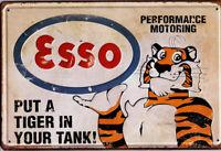 """Retro Blechschild """"Esso Tiger"""" geprägt Auto KFZ Werkstatt Garage 20x30cm"""
