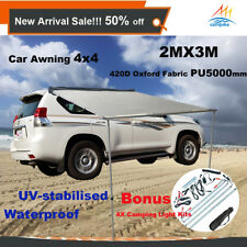 2.0M X 3M Car Side Awning Roof Rack Tents +4X LED Camping Lights Kit 4X4 4WD