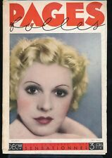 PAGES FOLLES Dec 1933 Spicy Sexy French Pin-Up Girlie Magazine ART DECO Nudes vv