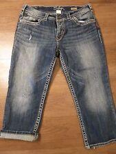 Silver Jeans Suki Surplus Womens Medium Wash Flap Pockets Capri Crop Jeans Sz 32