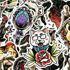 Us Seller, 50 old school tattoo vinyl stickers music graffiti motorcycle lot