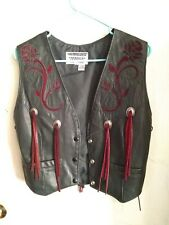 DALLAS PREMIUM LEATHER Ladies small Motorcycle VEST, USA MADE, Beautiful
