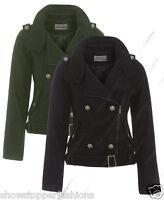 Size 8 10 12 14 NEW Womens BIKER JACKET Waist Ladies ZIP Coat Black Khaki Zip