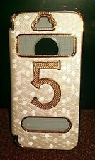 Iphone 5 Case Gold and White Protective skin case cover