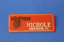ORANGE HOOTERS GIRL NAME TAG PIN (name in white) NICHOLE Anderson, SC