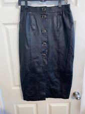Margaret Godfrey Leather Long Bold Button Front Pencil Skirt Size 10 Black
