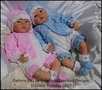 "REBORN DOLL OR BABY KNITTING PATTERN E31 JACKET SET SET 16-22"" DOLL/0-3M BABY"
