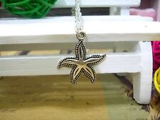 pendant,vintage handmade chain necklcae Ancient silver Starfish charm necklace