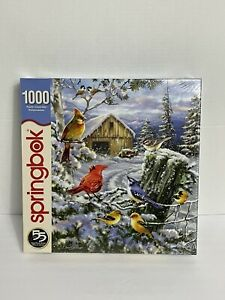 SPRINGBOK 1000 pc Puzzle Frosty Morning Song Cardinals Birds New Sealed C2