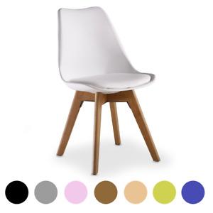 Jamie Lorenzo Tulip Dining Chair Padded Seat Eiffel Wood Legs (SETS OF 1,2,4)