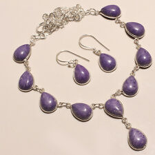"""CHAROITE WITH EARRING .925 SILVER NECKLACE 16-18"""""""