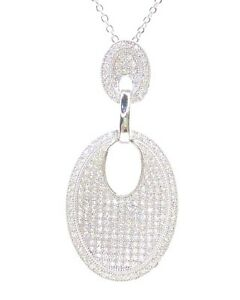 STERLING SILVER CUBIC ZIRCONIA PENDANT with FREE CHAIN !!