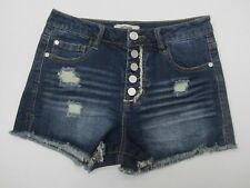 NWT Refuge Distressed 5 ButtonDenim Shorts Cheeky HiRise Charlotte Russe Size 2
