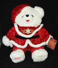 """2000 Snowflake Teddy White Plush Christmas Holiday Girl Bear Dan Dee 22"""" Tags"""