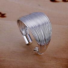 Damen Ring 925 Sterling Silber plattiert größenverstellbar Design Ring cool